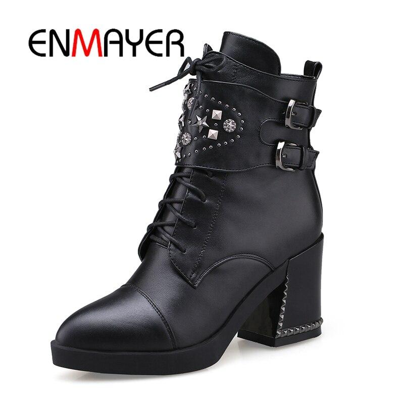 Pointu 39 Décontractées À Cr397 Black En Talons brown Enmayer Orteil Hauts Taille Chaussures Dames Femmes Bottines 34 Bottes Peluche twnnq6Af