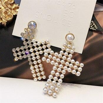 86f0f0a793b1 FYUAN estilo coreano Cruz pendientes para las mujeres chica 2019 Bijoux  Oversize pendientes de perlas joyería de declaración regalos