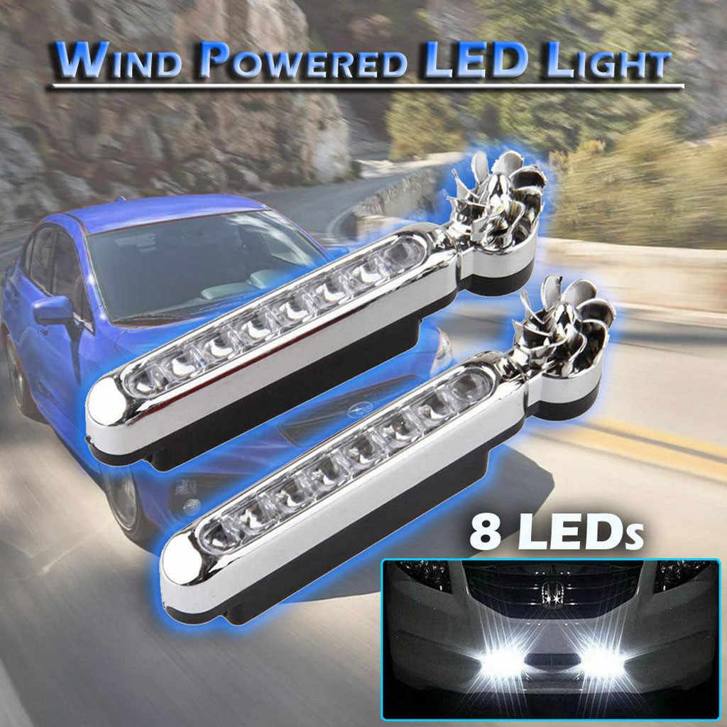 Auto Headlamp COB Fog Light Bulb Wind Powered 8 LED Car DRL Daytime Running Light Fog Warning Auto Head Lamp LED Lamps For Cars