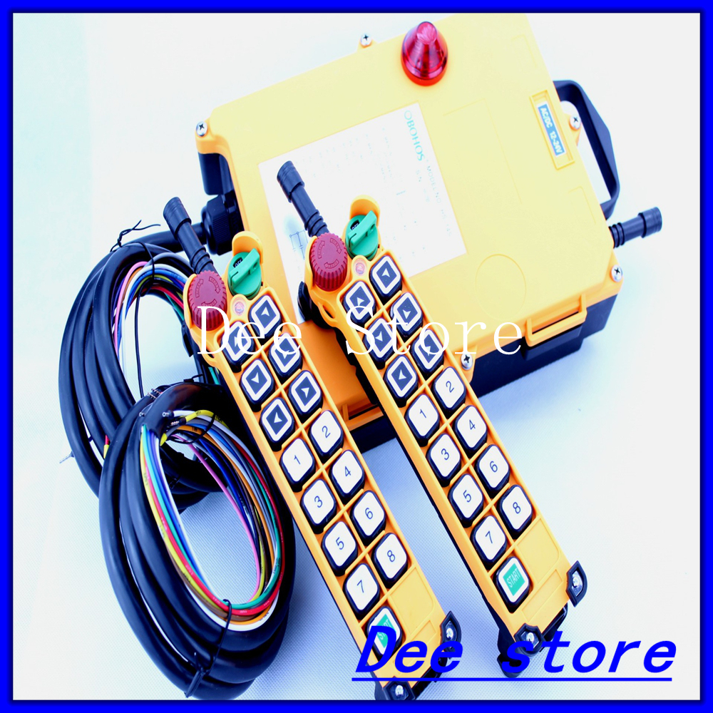 14 Channels 1 Speed 2 Transmitters Hoist Crane Truck Radio Remote Control Push Button Switch System with Emergency-Stop