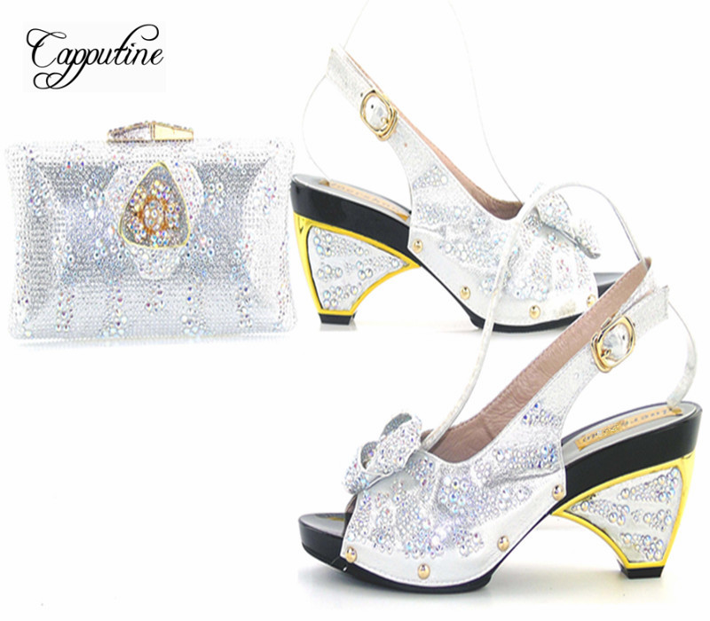 Capputine Purple Color Nigerian Style Rhinestone Shoes And Bag Set African Ladies Shoes And Bag Set for Party Dress Size 37-43 capputine nigerian style woman yellow shoes and bag set for party african rhinestone middle heels shoes and bag set size 37 43