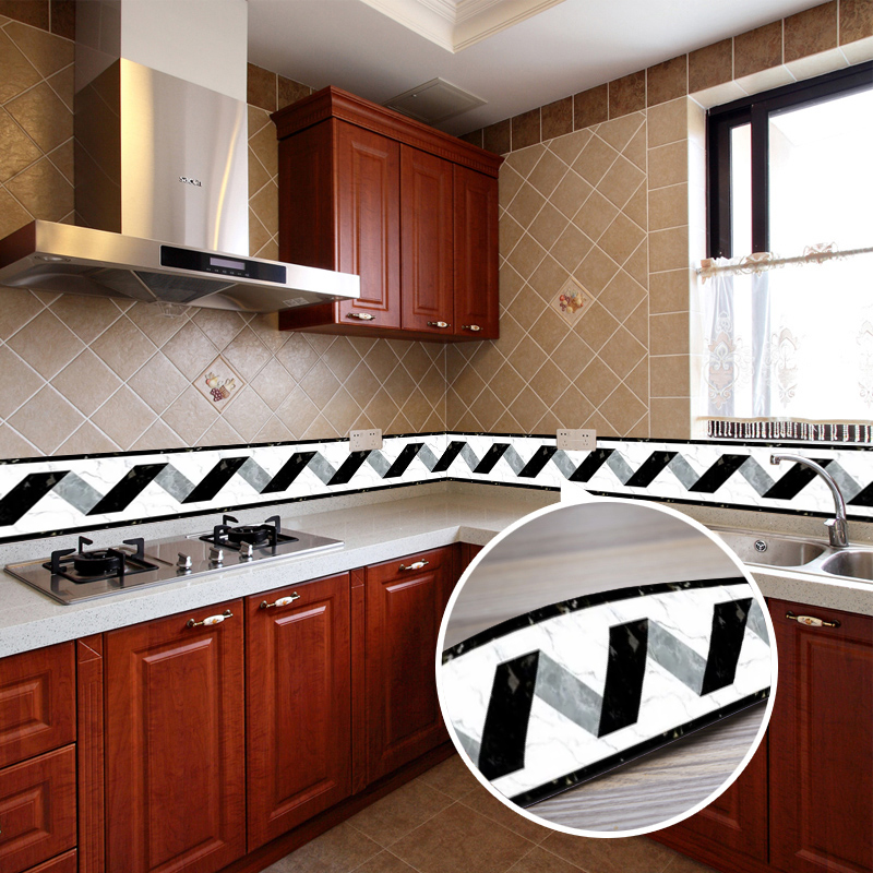 Black White Stripe Baseboard Waist Line Decor Wall Stickers Home Decor Kitchen Bathroom Toilet Self Adhesive Wallpaper Borders