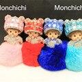 15 color cristal monchichi monchhichi 8 cm pom pom de piel real llavero mayorista llavero pompón De Piel Bolso de La Mujer Charm colgante de coches