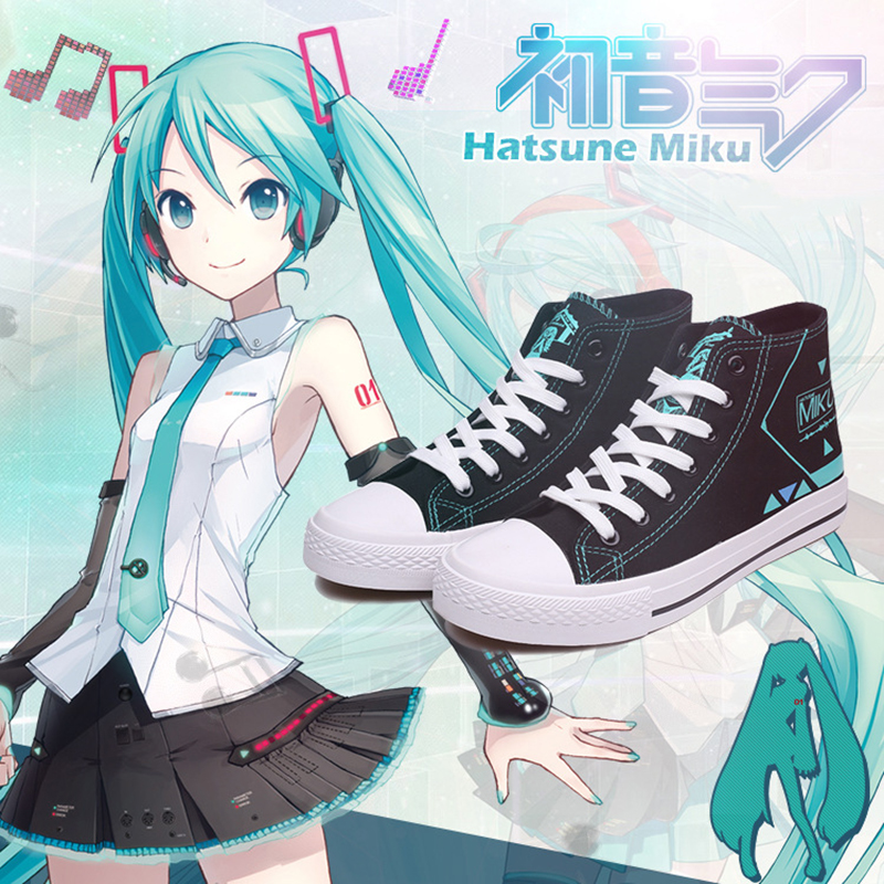 Anime Hatsune Miku Cosplay chaussures Miku Cosplay toile chaussures Halloween carnaval fête quotidienne loisirs chaussures