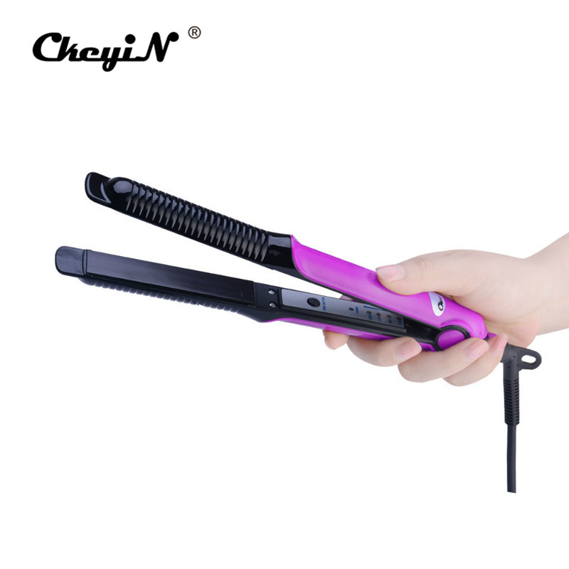 Ckeyin 2-in-1 Ionic Hair Straightener Brush/Curler dry&wet Hair Flat Iron 360-Rotation Rapid Heating Curling Straightening Brush hot electric brush hair straightener 360 degree rotation curling wand black color magic hair curler with plug