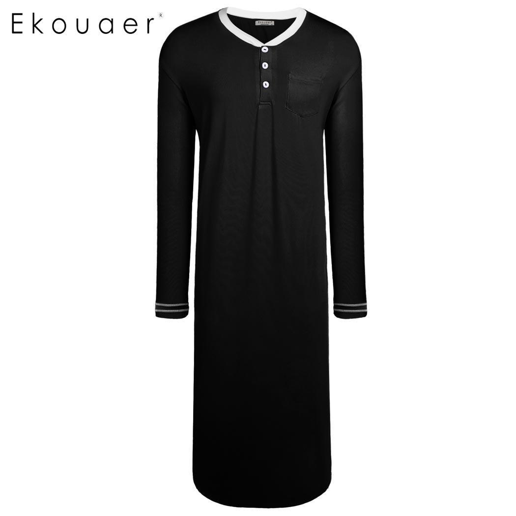 c644d69e997 Ekouaer Men Sleepwear Long Sleeve Nightshirts Loose Solid Loose Pajama Sleepshirt  Sleepwear Mens Henley Nightshirt Home
