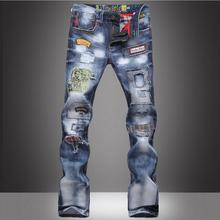 2016 осень зима новый амазонка мужчин джинсы мода улица личность отверстие лоскутное большой ярдов джинсы качественные джинсы