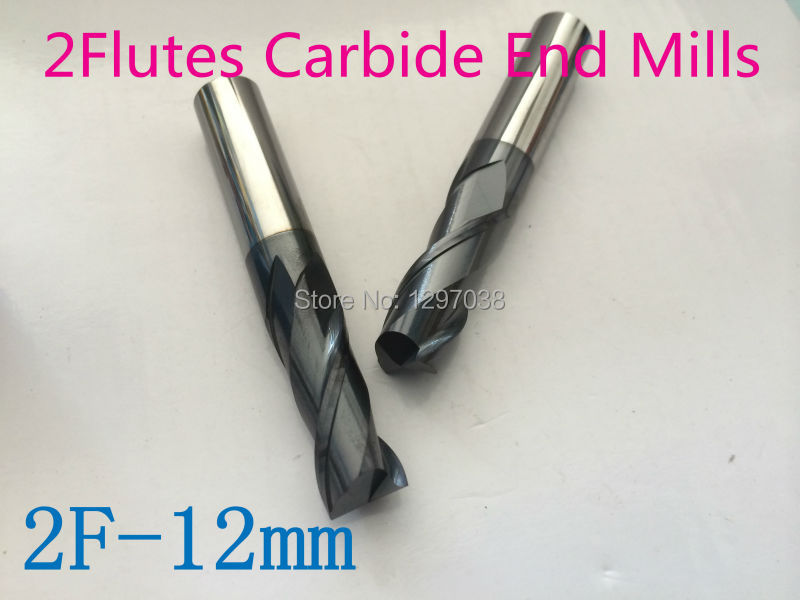2pcs  2 Flutes 12MM micro grain Solid carbide end mills , Milling Cutter, CNC Lathe Tool router bits hrc45-50 1pcs 2flutes 12mm micro grain solid carbide end mills milling cutter cnc lathe tool router bits hrc45 50