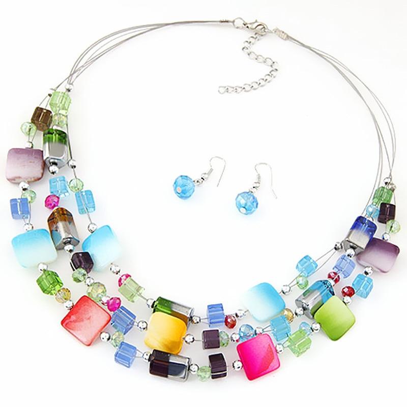 Jewelry sets statement necklace earrings for women Multilayer jewellery parure schmuck colar feminino set bijoux femme indian C