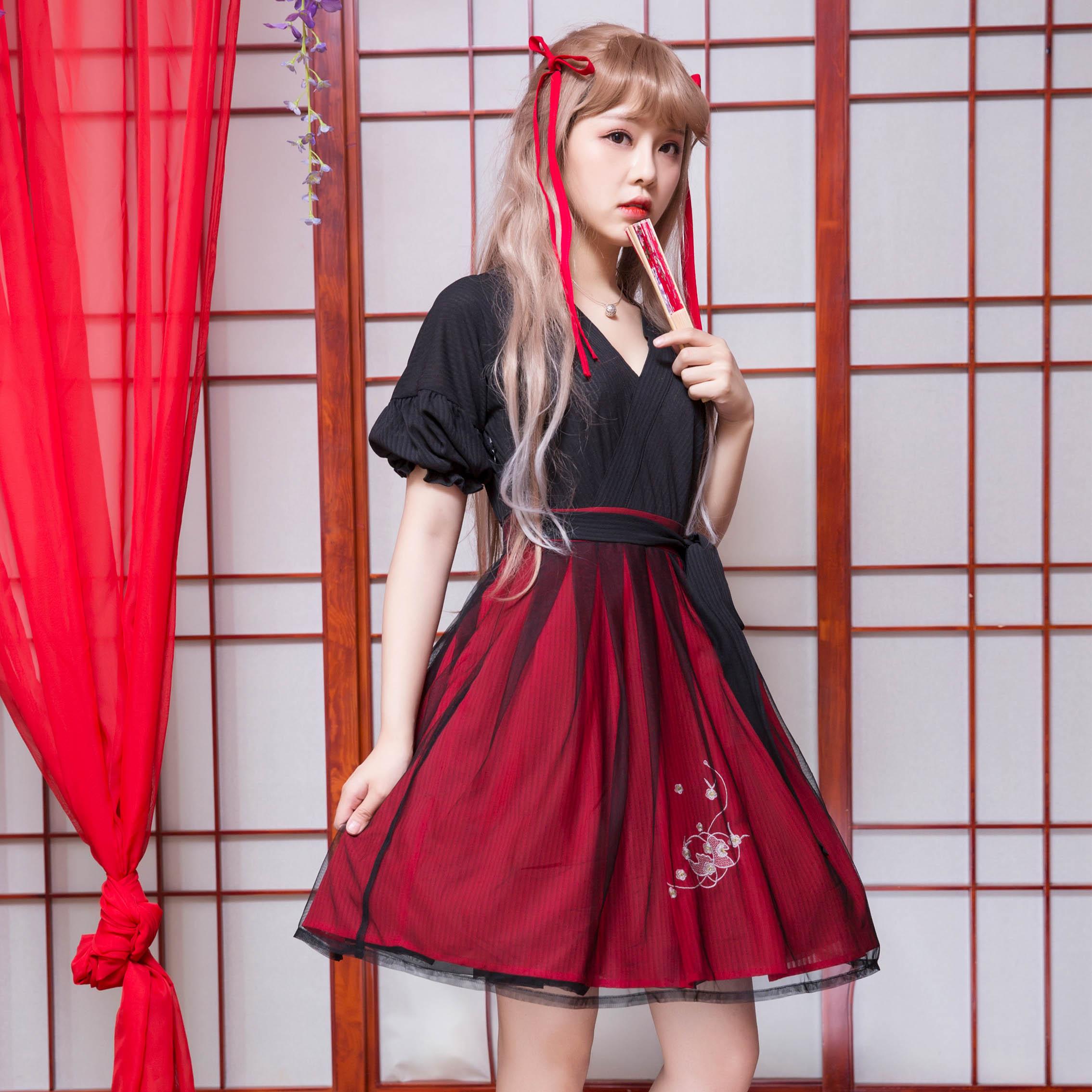 링 긴 tou (절묘한 주사위) 우아한 중국 전통 hanfu 블랙 + 레드 드레스 한 요소 짧은 소매 드레스 원피스-에서드레스부터 여성 의류 의  그룹 3