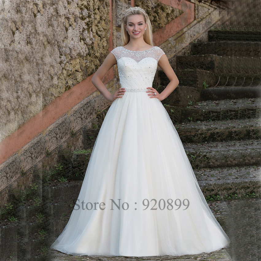 Vestido De Noiva Princesa Crystal Wedding Dress Beaded V