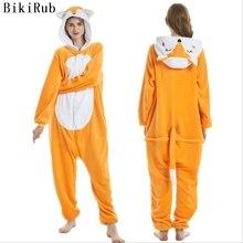 Bikirub kigurumi 잠옷 플란넬 긴 소매 잠옷 귀여운 여우 만화 동물 잠옷 세트 여성 후드 잠옷 겨울 홈웨어