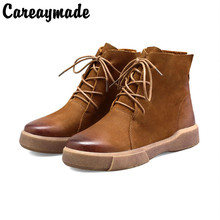 Careaymade-autumn and winter new flat Martin boots, womens Retro Genuine Leather short thick bottom motorcycle boots