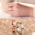 Exquisite fashion women jewelry hollowing Lucky Rome digital Titanium ring in rose gold plated for Women Gift of temperament