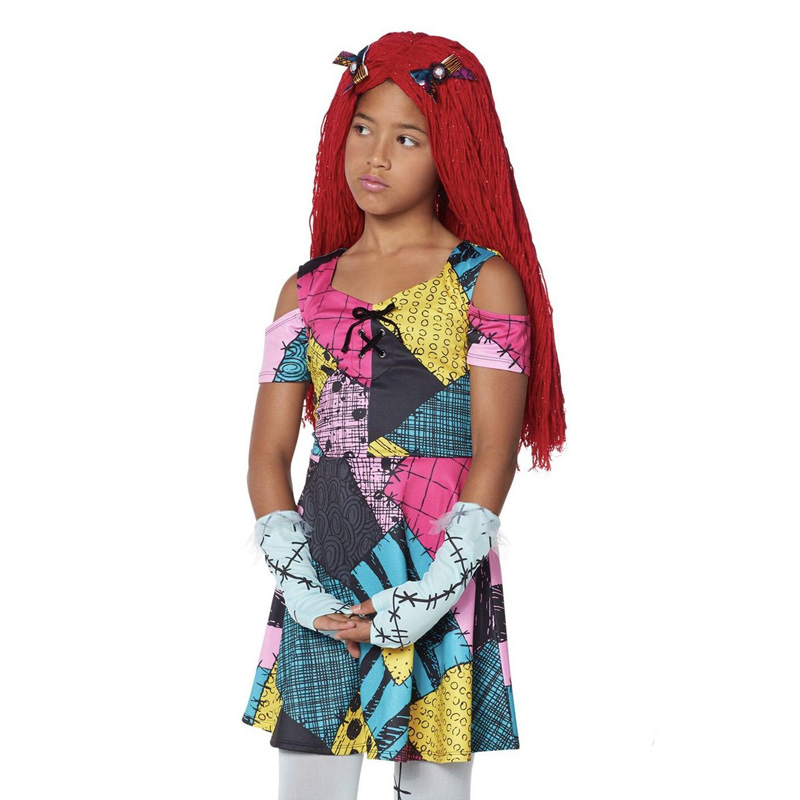Halloween The Nightmare Before Christmas Sally Dress Costume Fancy Girl Gown Cosplay Party Costume Dress