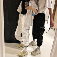 High Waist Cargo Pants Women 2019 harajuku Loose Pockets Pants Womens Streetwear Embroidery Hip Hop Pants pantalon mujer
