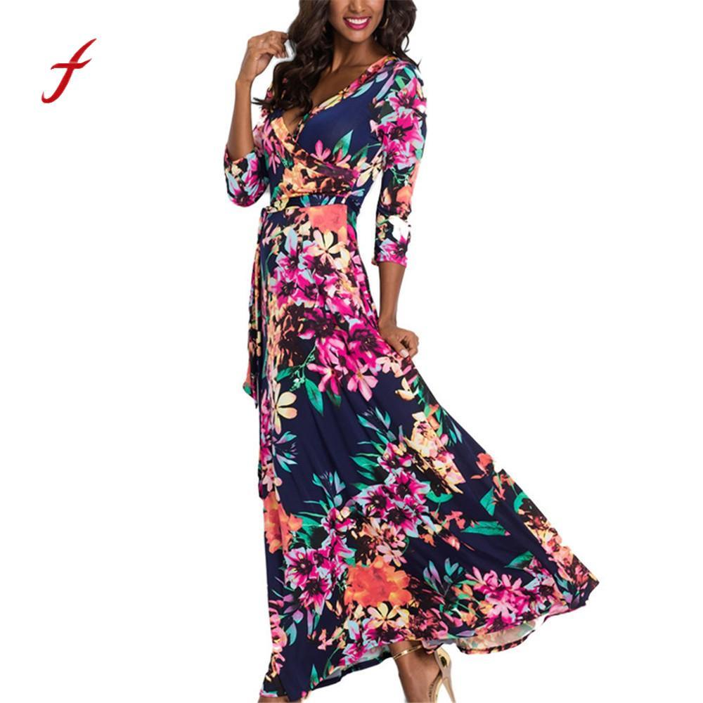 Damen Mode Maxi kleid Lange Hülse der Frauen Weibliche V Neck Lange Bandage Druck Kleid Casual Marke Druck Kleid frida kahlo