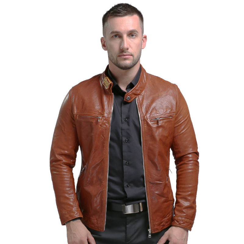 AIBIANOCEL Brand New Leather Jacket Vinter Ekte Lær Herre Jakke Menn Real Leather Jackets Broderi Sheepskin Coat 58653