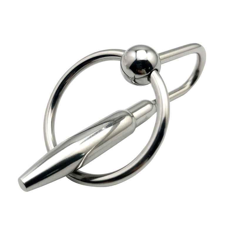 Masculino sonda uretral penis plug de metal em aço inoxidável tamanho pequeno Príncipe Wand massager com anel de puxar inserir brinquedo do sexo BDSM para os homens