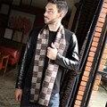 Nova Marca de Luxo Homens Cachecol Inverno Quente Retro Onda De Modais Dos Homens de Negócios Clássico Escovado Lenços De Seda Auspiciors Palavra de Volta
