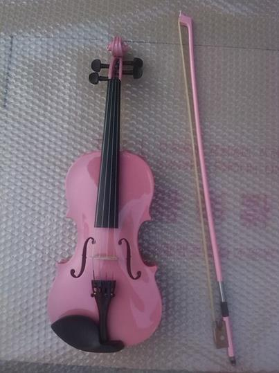 High quality PINK color violin 1/4 violin handcraft violino Musical Instruments electric spruce violin 1 4 violin handcraft violino musical instruments with pickup violin rosin case violin bow