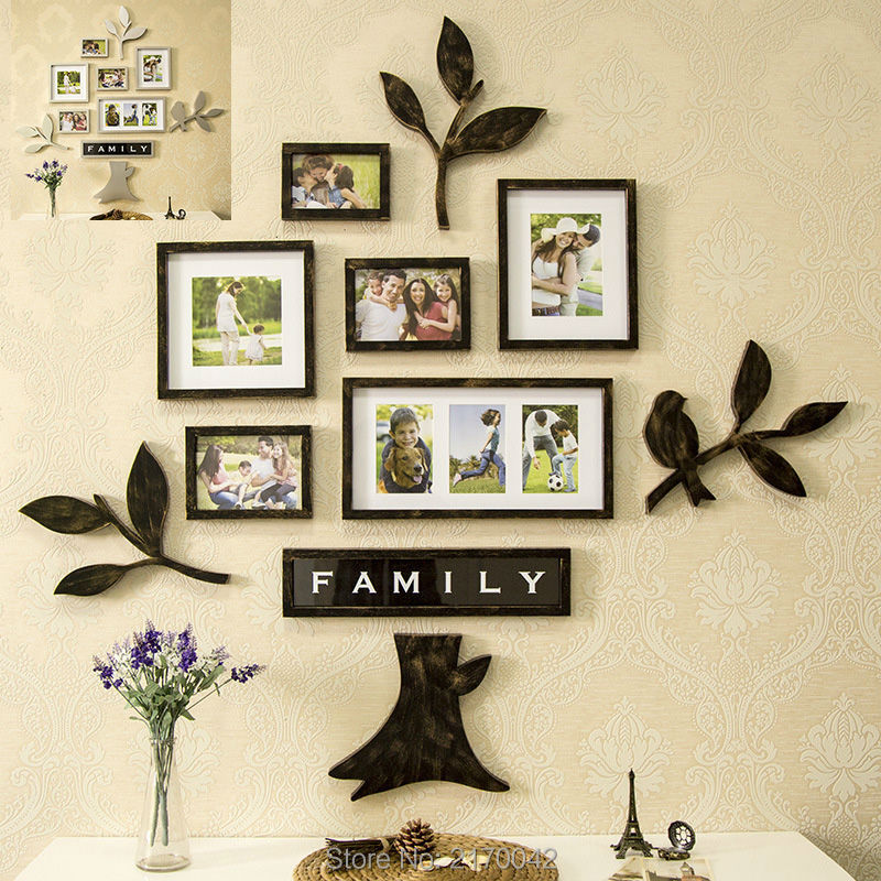 tree family photo frames on the wall home decoration wall frames set