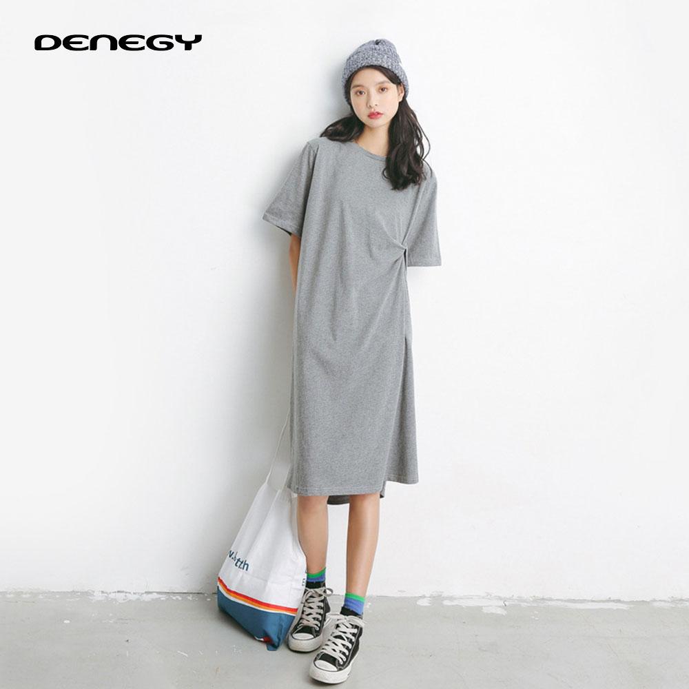 DENEGY divat Laza rövid ujjú nagyméretű szabálytalan ruha női - Női ruházat