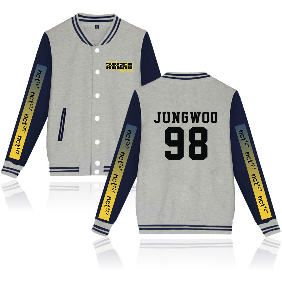 Pop Song We are super huaman-NCT127 Jackets Basbell Boy/Girl's Pale Gray Baseball Uniform Preppy Style Brief Fashion Jacket Coat image