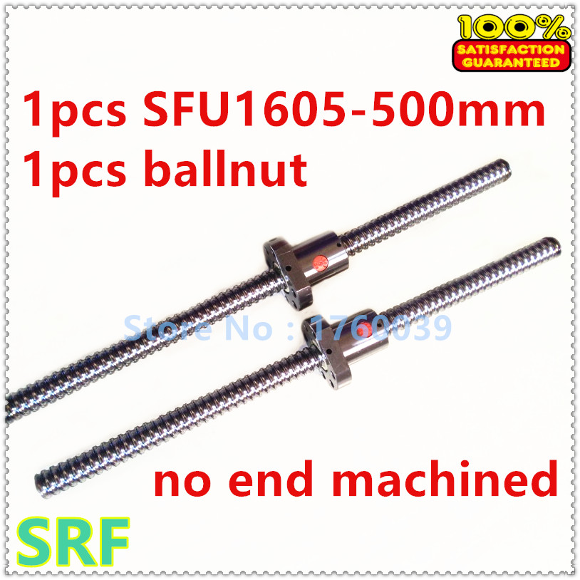 16mm Rolled Ballscrew SFU1605 set:1pcs  Ball screw length 500mm+1pcs single ball nut without end machined for CNC part sfu1605 400mm ballscrew with ball screw nut for cnc part without end machined