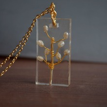 Pearl Natural Stone Tree Of Life Cuboid Resin Pendant Gold Color Chain Long Necklace Women Boho Fashion Jewelry Bohemian Vintage