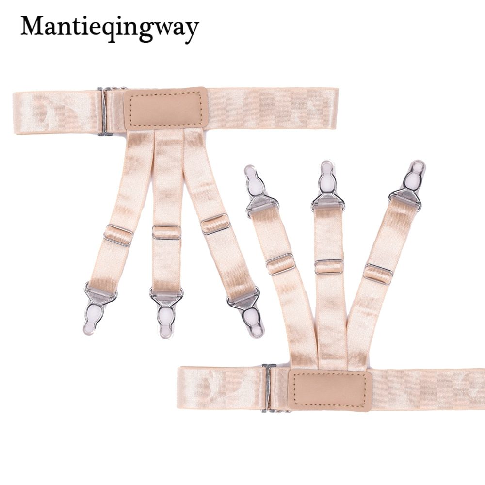 Mantieqingway Women Shirt Stays Holder High Quality Leg Suspensorio Strap Belts Solid Color Suspenders Braces For Wedding