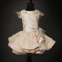 64c2e8b37f766d Luxury Kid Dresses Gold Lines Embroidery Party Front Short Back Long  Bowknot Flower Girls Dresses Flower