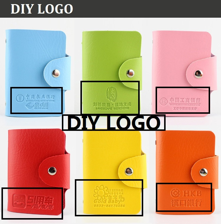 [4Y4A] 100pcs/Lot DIY LOGO  Leather Business Card Holder PU Card Bag More Card Bit Lady   Sets Driver 's License