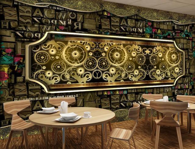 US $14.79 49% OFF|Nostalgie brief kombinationen Metal Gear restaurant bar  tapete papel de parede, wohnzimmer sofa TV wand schlafzimmer große ...