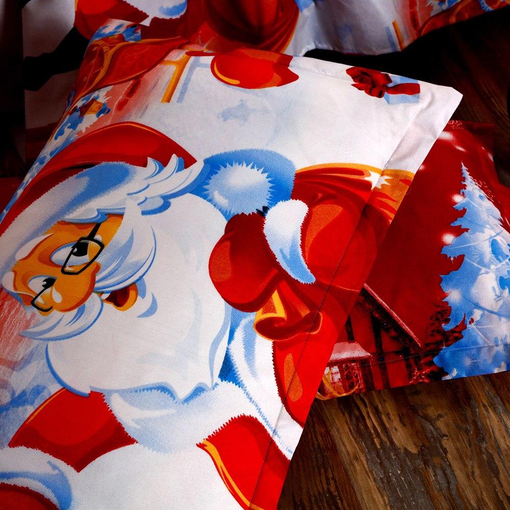 3D Printed Cartoon Merry Christmas Santa Claus Comfort Bedding Sets Quilt Cover + Pillow case 3 pcs Baby kid cotton bedding sets