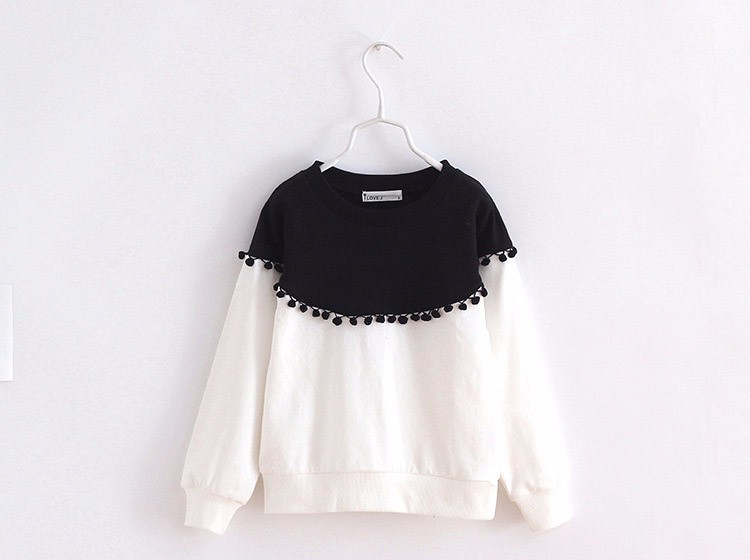 HTB1tCKUIpXXXXXIXFXXq6xXFXXXZ - Children Girls shirt tops 2017 Spring Fashion Color patched 100% cotton knitted Snow Ball long-sleeved loose shirts for girls