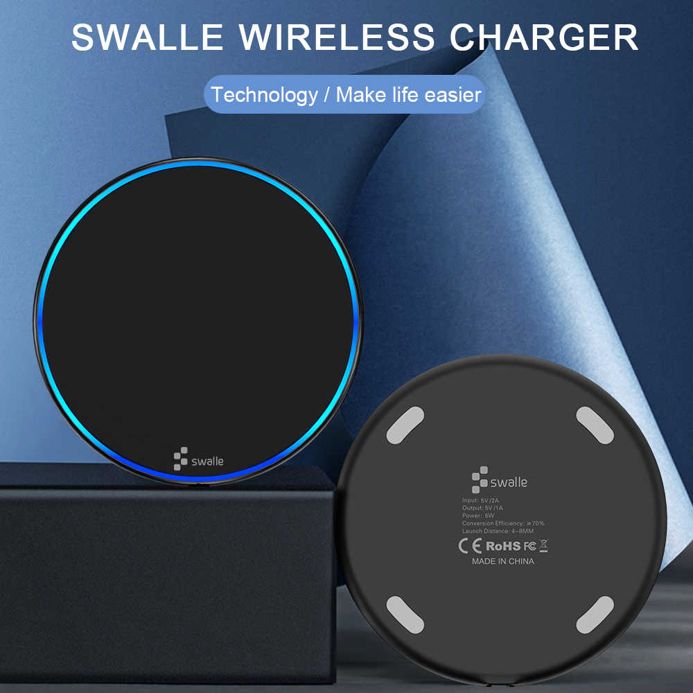 Swalle 5W Wireless Charger for iPhone X Xs MAX XR 8 plus Fast Charging for Samsung S8 S9 Plus Note 9 8 USB Phone Charger Pad