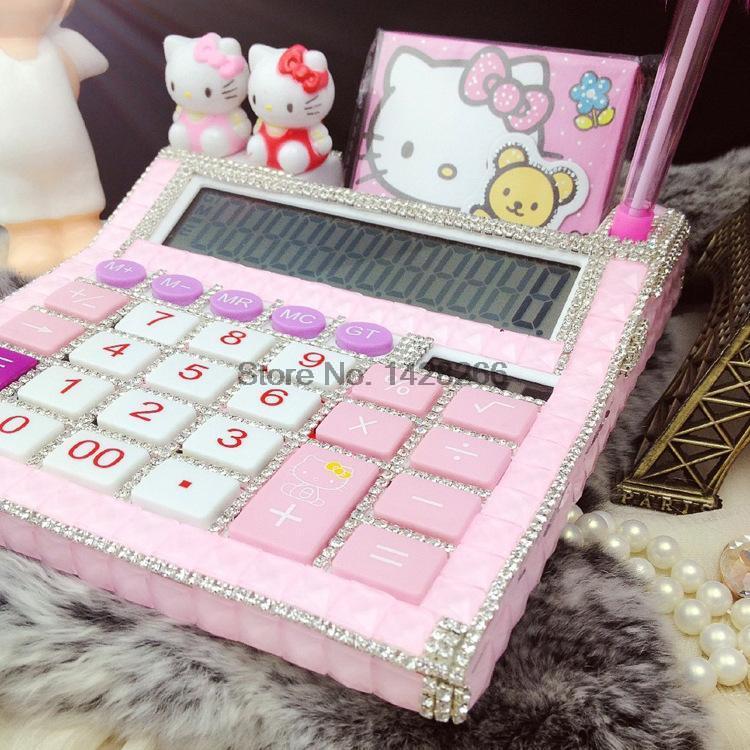Новинка 2017 года 12 разрядный милый розовый hello kitty калькулятор без голос милые калькулятор Kawaii калькулятор
