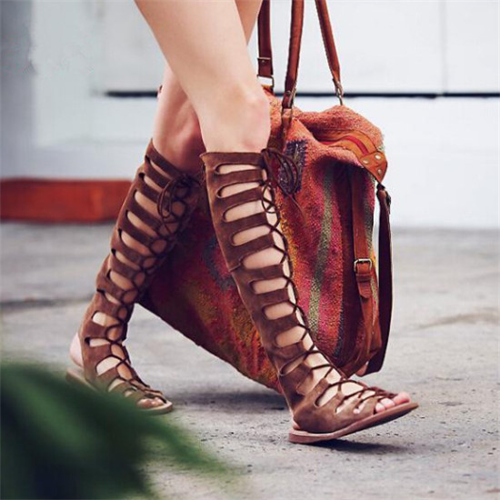 Bohemia Summer Leather Sandals Boots Flat Shoes Woman Boho Cut Outs Cross Tied Lace Up Knee High Boots Roman Sandals Botas Mujer in Knee High Boots from Shoes