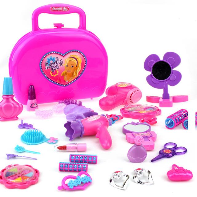 Los niños de juguete de simulación de simulación caja de cosméticos caja de cosméticos para niñas Niño dresserstaring juguete muchacha de la princesa caja de la joyería