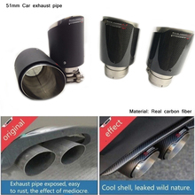 51mm Inlet 76/89/101/114mm Outlet Durable Round Silencer System Modified 170mm Real Carbon Fiber Tail Car Exhaust Pipe