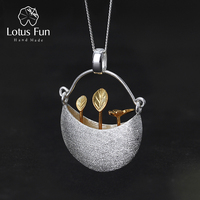 Lotus Fun Real 925 Sterling Silver Handmade Fine Jewelry My Little Garden Design Pendant Without Necklace