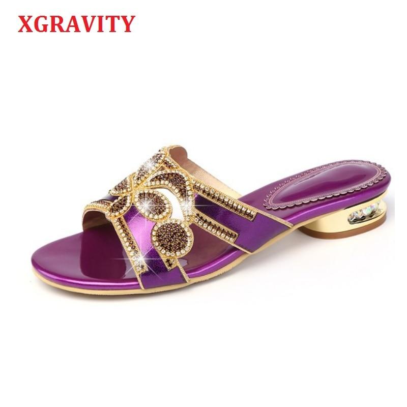 Xgravity 2019 Damen Casual Luxus Schuhe Sexy Kristall Strass Design Frauen Sandalen Aus Echtem Leder Flache Strand Neue Schuhe A104 Herrenschuhe