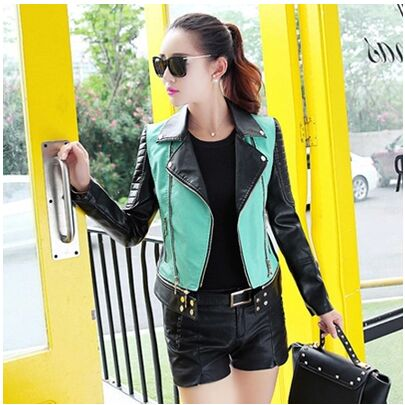 Fashion Women'S Autumn And Spring Short Motorcycle Leather Jacket Slim Turn Down Collar Leather Coat Large Size Suede Coats J342