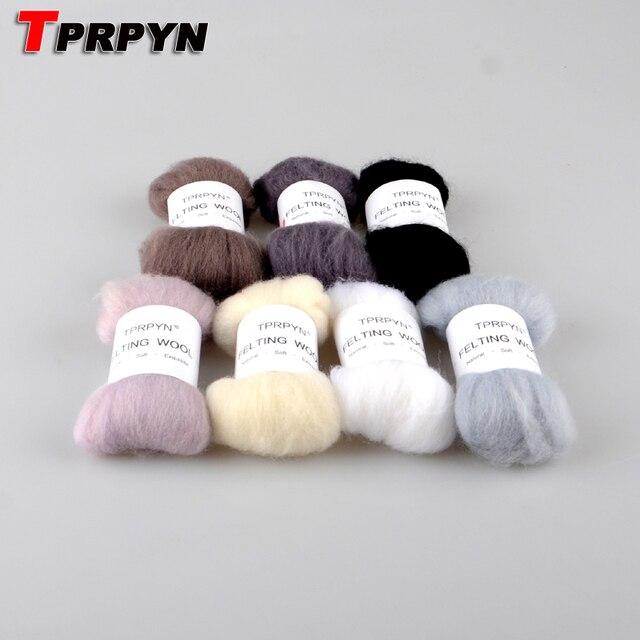 TPRPYN 7Pcs/Lot DIY Needle felt 66s wool felt poke fun soft feeling Wool Tops Roving DIY Spin black white & grey series 10g/pc