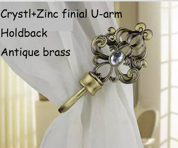 High quality eco-friendly plated process metal U-arm+crystal finial curtain hooks tieback holdback can order mixed by color