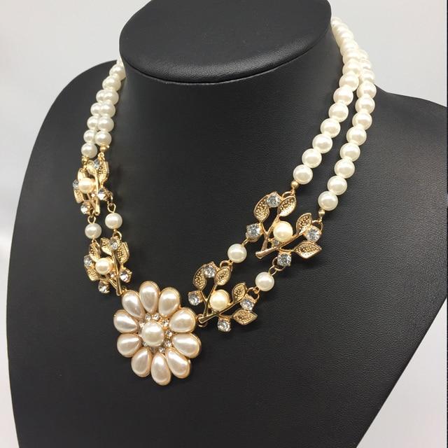 1ac167dd9384 Boomtakken Bloem Hars Parel Ketting Chokers Verklaring Sieraden Voor Vrouwen Collares  Perlas Joyeria Mujer