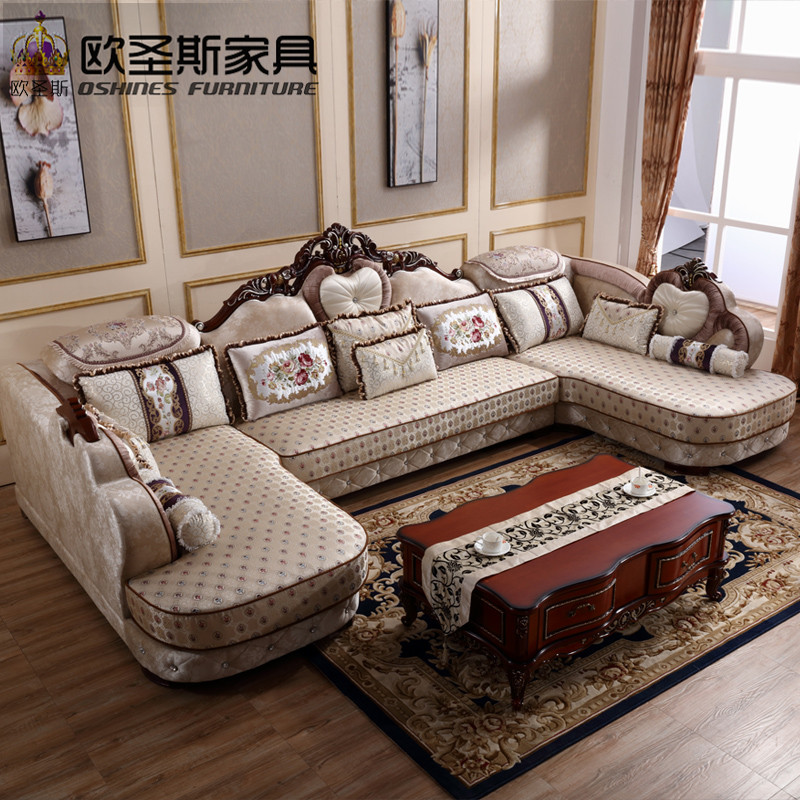 luxury U shaped sectional living room furniutre Antique Europe design new classical heart wooden carving fabric sofa sets 6273 the new listing luxury living room
