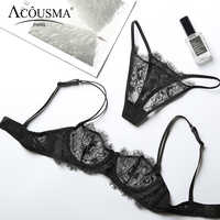 ACOUSMA Sexy Transparent Lace Bra and Panty Set Summer Ultra Thin Lingerie Set Demi Cup Unlined Seamless G-String T Back Thongs