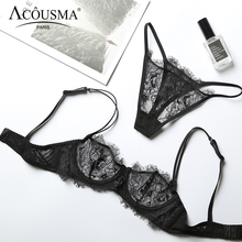 ACOUSMA Sexy Transparent Lace Bra and Panty Set Summer Ultra Thin Lingerie Set Demi Cup Unlined Seamless G String T Back Thongs